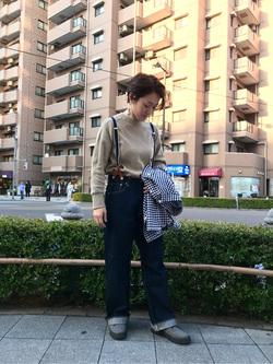 日暮里駅前店のIkumiさんのEDWINの【シークレットセーール!!】EDWIN LADIES 505 シンチバック サスペンダー ワイドパンツを使ったコーディネート