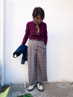 日暮里駅前店のIkumiさんのSOMETHINGの【シークレットセーール!!】SOMETHING タックワイド(ベルト付)を使ったコーディネート
