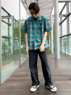Lee アミュプラザ博多店のTakeshiさんのLeeの【ガレージセール】オープンカラーシャツ 半袖(ブロックチェック)を使ったコーディネート