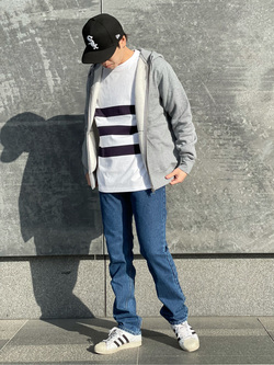 LINKS UMEDA店のKo-jiさんのEDWINの【直営店限定】ボーダーロングスリーブTシャツを使ったコーディネート