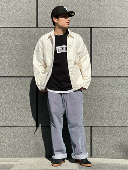 LINKS UMEDA店のKo-jiさんのEDWINのボックスロゴ クルーネック 半袖Tシャツ (バンダナ)を使ったコーディネート