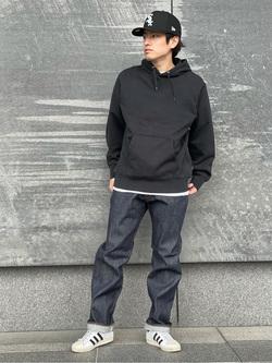 LINKS UMEDA店のKo-jiさんのEDWINの【コンセプトショップ限定】REGULER STRAIGHT ボタンフライ 【レングス82cm】を使ったコーディネート