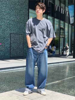LINKS UMEDA店のKo-jiさんのEDWINの終了【サマーセール】EDWINクラシックロゴ Tシャツ 半袖 (ポスター)を使ったコーディネート