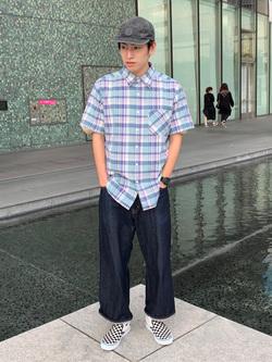 LINKS UMEDA店のKo-jiさんのEDWINの【サマーセール2】チェックシャツ 半袖を使ったコーディネート