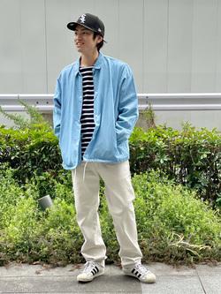 LINKS UMEDA店のKo-jiさんのEDWINの終了【ガレージセール】【直営店限定】【子供から大人まで着られる】ボートネック バスクシャツ(ボーダー)【110-180cm】を使ったコーディネート