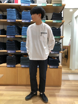 錦糸町PARCO店のEriさんのEDWINのF.L.E ZIPポケット ロングスリーブTシャツを使ったコーディネート