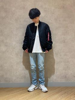 錦糸町PARCO店のEriさんのALPHAのMA-1 タイト ジャケット【ユニセックス】を使ったコーディネート