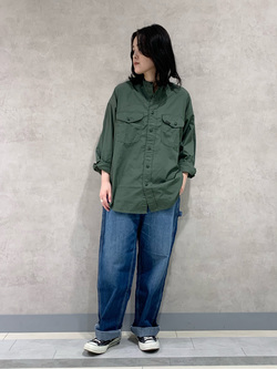 Lee 名古屋店の千さんのLeeのバンドカラーシャツ/長袖を使ったコーディネート