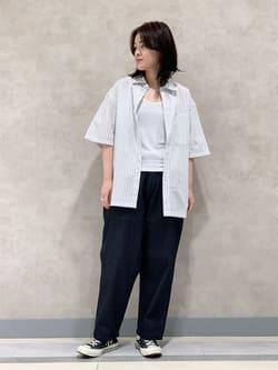 Lee 名古屋店の千さんのLeeの【SALE】【ストレスフリーな穿き心地】ラクして決まる イージーワイドパンツを使ったコーディネート