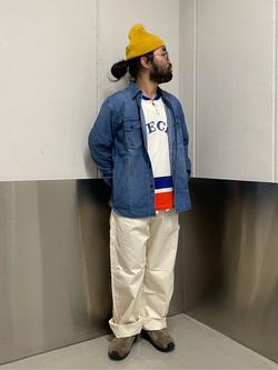 大阪店の上野さんのLeeのワークシャツ 長袖を使ったコーディネート