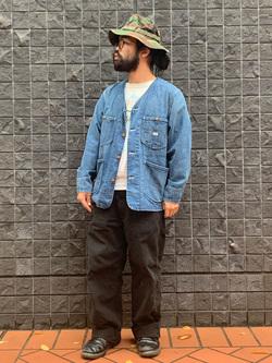 大阪店のUenoさんのLeeの【着回し力抜群】ノーカラー デニムジャケットを使ったコーディネート