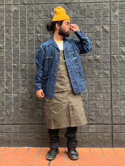 大阪店の上野さんのLeeのカバーオールジャケットを使ったコーディネート