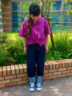 Lee 武蔵小杉店のMiharuさんのLeeの【ガレージセール】オープンカラーシャツ 半袖(POPLIN WASHER)を使ったコーディネート