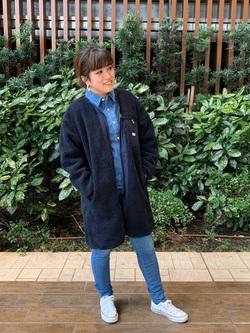 Lee 武蔵小杉店のMiharuさんのLeeの扱いなしボア コートを使ったコーディネート