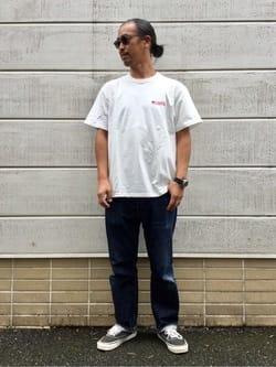 TOKYO HARAJUKU店のKEITAROさんのEDWINの【EDWIN 60周年限定】 クルーネック 半袖Tシャツ Bを使ったコーディネート