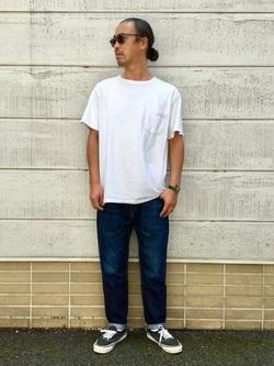 TOKYO HARAJUKU店のKEITAROさんのEDWINの【コンセプトショップ限定】SLIM TAPERED ボタンフライ 【レングス71cm】を使ったコーディネート