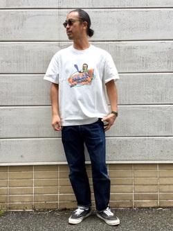 TOKYO HARAJUKU店のKEITAROさんのEDWINの【EDWIN 60周年限定】 クルーネック 半袖Tシャツ Aを使ったコーディネート