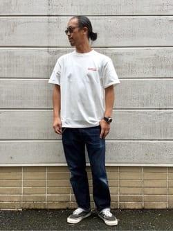 TOKYO HARAJUKU店のKEITAROさんのEDWINの【EDWIN 60周年限定】 クルーネック 半袖Tシャツ Cを使ったコーディネート