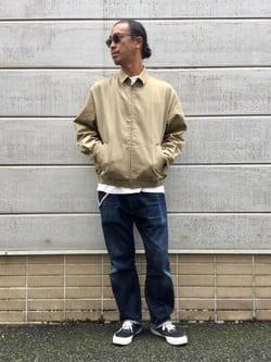 TOKYO HARAJUKU店のKEITAROさんのEDWINの【コンセプトショップ限定】REGULER STRAIGHT ボタンフライ 【レングス82cm】を使ったコーディネート