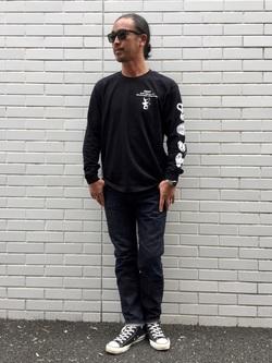 TOKYO HARAJUKU店のKEITAROさんのEDWINの【コンセプトショップ限定】EDWIN EUROPE STRANGE OBJECTS TEEを使ったコーディネート