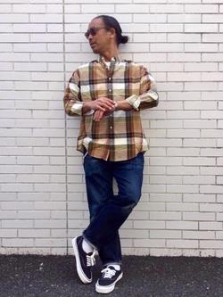TOKYO HARAJUKU店のKEITAROさんのEDWINの【コンセプトショップ限定】REGULAR STRAIGHT KIBATA ボタンフライ 【レングス81.5cm】を使ったコーディネート