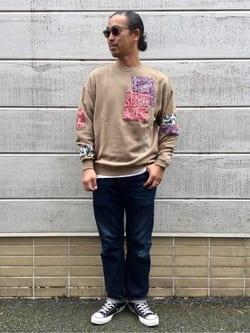 TOKYO HARAJUKU店のKEITAROさんのEDWINの【コンセプトショップ限定】EDWIN x reyn spooner CREW SWEAT SHIRTSを使ったコーディネート