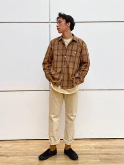 エスパル仙台店のすがきよさんのLeeのオープンカラー チェック柄シャツ/長袖を使ったコーディネート
