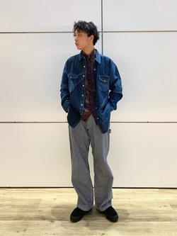エスパル仙台店のすがきよさんのLeeのピエロシャツ/パッチワークデニムシャツを使ったコーディネート
