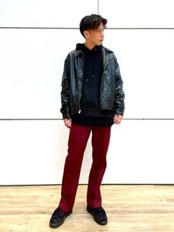 エスパル仙台店のすがきよさんのLeeのフェイクレザー ワークジャケットを使ったコーディネート