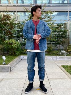 エスパル仙台店のすがきよさんのLeeの【着回し力抜群】ノーカラー デニムジャケットを使ったコーディネート