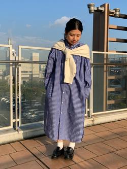 ららぽーと横浜のYukakoさんのLeeの【直営店・WEB限定】袖ボリューム ロングシャツ ワンピースを使ったコーディネート