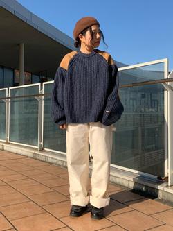 ららぽーと横浜のYukakoさんのLeeのミリタリー パッチワークセーターを使ったコーディネート