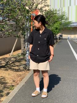 ららぽーと横浜のYukakoさんのLeeの終了【サマーセール】オープンカラーシャツ 半袖(POPLIN WASHER)を使ったコーディネート