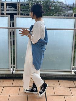 ららぽーと横浜のYukakoさんのLeeの【シークレットセーール!!】クルーネックTシャツワンピース 半袖を使ったコーディネート