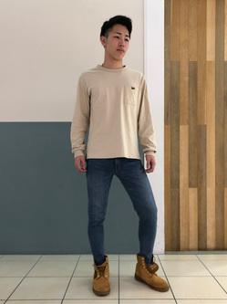 札幌パセオ店のTatsukiさんのLeeの【サマーセール】ポケット付きTシャツ 長袖を使ったコーディネート