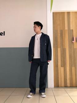 札幌パセオ店のTatsukiさんのLeeの【ユニセックス】DUNGAREES ペインターパンツを使ったコーディネート