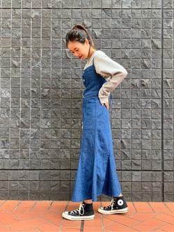 大阪店のmotomiさんのLeeの【トップス15%OFFクーポン対象】【オーガニックコットン素材】ワッフル ベーシック長袖Tシャツを使ったコーディネート