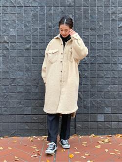 大阪店のmotomiさんのLeeの【トップス15%OFFクーポン対象】【ふっくらボア】CPO ロングシャツを使ったコーディネート