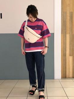 札幌パセオ店のChisatoさんのLeeの終了【サマーセール】マルチボーダーTシャツ 半袖を使ったコーディネート