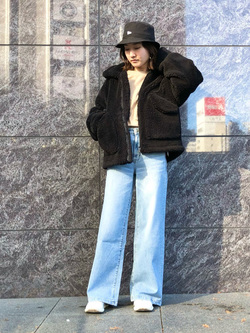 LINKS UMEDA店のMANAEさんのALPHAの【決算SALE】ボア ミリタリージャケット レディースを使ったコーディネート