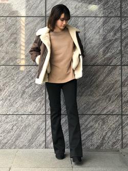 LINKS UMEDA店のMANAEさんのEDWINのEDWIN LADIES ハタラクロ ブーツカットを使ったコーディネート