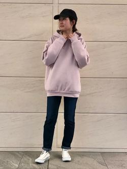 LINKS UMEDA店のMANAEさんのEDWINの【CLASSY. 4月号/CanCam 5月号掲載】EDWIN LADIES ジャージーズ スリムストレート【スタンダードモデル】を使ったコーディネート