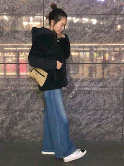 LINKS UMEDA店のMANAEさんのEDWINのF.L.E ボア フリースジャケットを使ったコーディネート