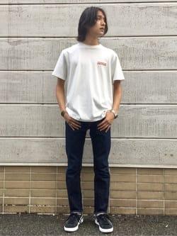 TOKYO HARAJUKU店のMale StaffさんのEDWINの終了【EDWIN 60周年限定】 クルーネック 半袖Tシャツ Cを使ったコーディネート