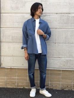 TOKYO HARAJUKU店のMale StaffさんのEDWINの【SALE】【コンセプトショップ限定】レディース INDIGO GARMENTS CPOシャツ 長袖を使ったコーディネート