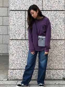 札幌パセオ店のChihiroさんのLeeの【男女兼用】ルーズシルエット ロングTシャツ/刺繍ロゴ/胸ポケットを使ったコーディネート