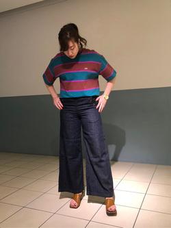 札幌パセオ店のChihiroさんのLeeの終了【サマーセール】マルチボーダーTシャツ 半袖を使ったコーディネート