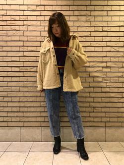 札幌パセオ店のChihiroさんのLeeの扱いなしクルーネック ニットを使ったコーディネート