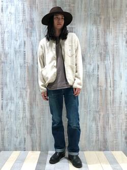 Lee 名古屋店のTakayaさんのLeeの【再値下げ Winter sale】【ユニセックス】【やわらかフリース】ノーカラージャケットを使ったコーディネート
