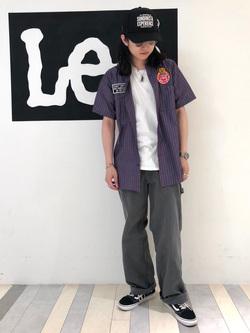 Lee 名古屋店のTakayaさんのLeeの【ガレージセール】Lee×Dickies ドッキングワークパンツ2【ユニセックス】を使ったコーディネート